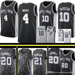 f3ca52453af San 4 Antonio Derrick Spurs White Jersey Mens Demar 10 DeRozan Manu 20  Ginobili Tim 21 Duncan Basketball Jerseys Black Grey White