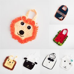 crochet baby animal prop Coupons - Cartoon animal Lion tiger sheep bibs infant Knitting crochet Burp Cloths baby girls boys Photography props bib C6192