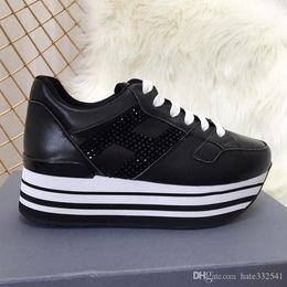 lacer une semelle épaisse Promotion Italie Chaussures à lacets Casual Chaussures Trend Womens Mode Chaussures en cuir véritable Semelle épaisse Casual Chaussures respirantes Drop Ship EUR: 35-40