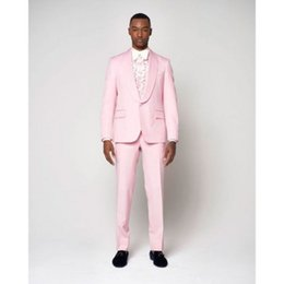 Esmoquin rosa claro online-Moda Light Pink Men Suit Jacket Tuxedo Slim Fit 2 Piezas (Blazer + Pantalones) Wedding Men Trajes Prom Party Blazer YM
