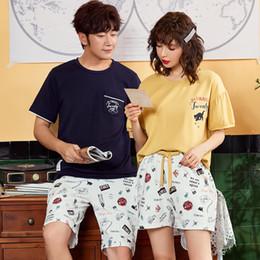 Ropa de dormir hombre mujer corto online-Pareja pijamas verano moda pijamas mujeres de algodón de manga corta chándal hombres ropa para dormir ropa de dormir