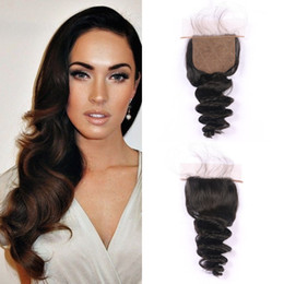indian style hair knots Coupons - Beautiful Style 4x4 Silk Base Closure Loose Wave 8-24 Inch Human Hair Bleached Knots Natural Color Can Be Dyed Free Shipping