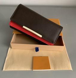 Shpping libre Venta al por mayor de fondos rojos dama cartera larga monedero de diseño multicolor Titular de la tarjeta caja original mujeres bolsillo clásico con cremallera desde fabricantes
