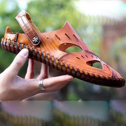вырезать плоские туфли Скидка Мужские летние сандалии на плоской подошве туфли на плоской подошве Drivingg для мужчин с плоскими тапочками и горками C01279 zapatos de hombre sandalias
