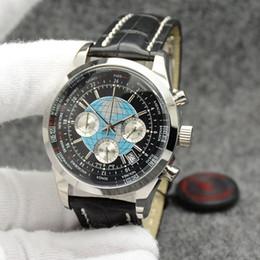 Relojes multipropósito online-Transocean único cronógrafo de cuarzo Unitime multiusos al aire libre Negro Dial del reloj para hombre Relojes de pulsera 44 mm con correa de cuero Negro
