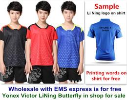 Wholesale EMS für freies, Textdrucken für freies, neues Kindkindbadmintonhemd kleidet Sporthemd des Tischtennis T Kleidung 141 von Fabrikanten