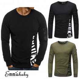 Zipper novo dos homens t shirt on-line-2018 de Brand New Men Slim Fit Zipper manga comprida Magro camisa Casual Pullover T-shirt Tops