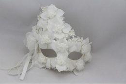 Plumas de la mascarilla completa online-Modelos masculinos y femeninos más pluma de encaje de flores blanco mascarilla completa Máscara de la princesa mascarada máscaras venecianas 100 unids / lote