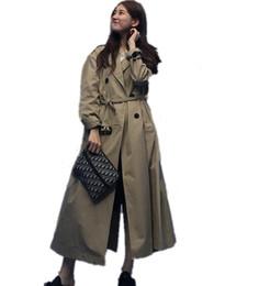 pattini lunghi delle donne Sconti UK 2018 Fashion Spring Autumn Women Runway Designer Oversize Doppio petto lungo trench con cintura Cappotto donna casaco