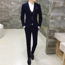 2019 мужской элегантный жилет Classic Men's Suit 3 Piece Set Fashion Business Banquet Dress Men Suits Jacket and Vest with Pants Comfortable and Elegant скидка мужской элегантный жилет