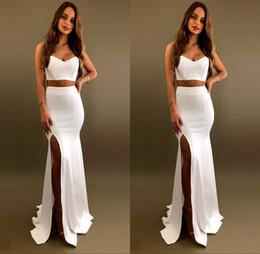 2019 vestidos de noite strapless fita preta 2 Peças Dividir Side Prom Vestidos Sexy Sweereart Pescoço Sereia Evening Party Dress vestido de fiesta