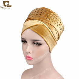 star hijab Desconto Novas mulheres da moda ESTRELA de diamante de Veludo Turbante Cabeça Longa Wraps mulheres de luxo Hijab HeadScarf lenço cabeça turbante