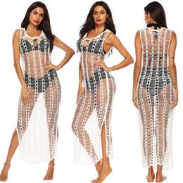 2019 vestidos de crochet talla 12 Vestido de baño de crochet de encaje de las mujeres del verano Bikini Traje de baño Cubrir Vestido de playa Talla única Ropa de baño Cubrir vestidos de crochet talla 12 baratos