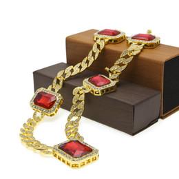 хрустальные хмель Скидка Мода мужчины хип-хоп рок ожерелья золото Silve покрытием 5 шт. площадь красный кристалл ожерелья 30
