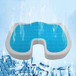 Cuscini sedili estivi online-46 * 36 forma di u cuscino in gel di silicone memory foam cuscino coccyx proteggere lento rimbalzo estate cool cuscino sedia cuscino