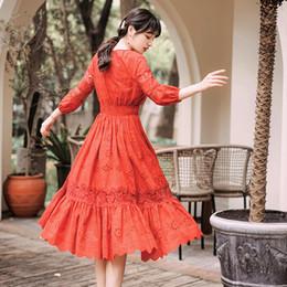 alta qualidade vestidos de festa para as mulheres Desconto Melhor Série de Qualidade # Elegante Vestido de Noite Red Hallow Out Lace V Neck Cintura Alta Midi Festa Prom Cocktail Moda Novas Mulheres Vestidos 1063