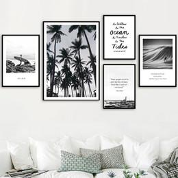 Pintura de playa blanca online-Surf Beach Black White Photo Surf Quote Retro Travel Canvas Painting Vintage Kraft Poster Coated Wall Sticker Decoración para el hogar Regalo