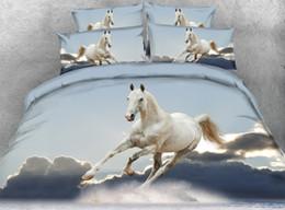 2019 3d duvets pferde königin größe Dekoration baumwolle King Size Bettbezug set 3D Weißes pferd Digitaldruck Einhorn Bettwäsche Set Königin quilt für schlafzimmer rabatt 3d duvets pferde königin größe