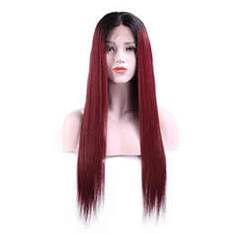 lace wig silky straight 1b Promo Codes - Fast Shipping 1b bug# Ombre Burgundy Red Silky Straight Synthetic Wigs Heat Resistant Glueless Synthetic Lace Front Wigs for Black Women