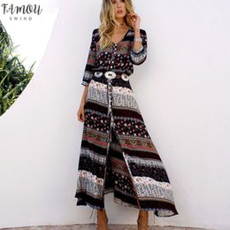 vêtements hippie bohème Promotion Nouvelle robe bohème impression longues femmes Maxi robe longue à fleurs Robes Casual Chic Imprimer 2019 Hippie Marque Vêtements Robe Boho