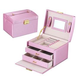 Canada Boîte à bijoux en cuir Pu Trois-couche Double tiroir Boîte à cosmétiques Princesse Bijoux De Stockage De Maquillage En Gros cheap wholesale drawer boxes Offre