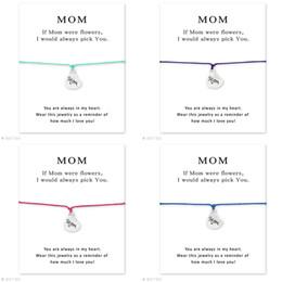 deseando flor Rebajas MAMÁ fueron brazalete de flores con tarjetas con forma de corazón charm Cadena de cuerda de cera Brazalete pulsera Para las mujeres Joyería día de la madre el mejor regalo