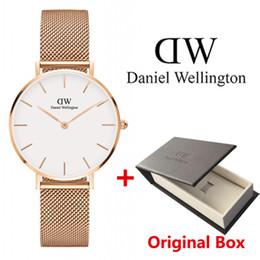 2019 ünlü marka DW İzle bayanlar 36mm altın ve gümüş paslanmaz çelik kayış kutusu Relogios masculino relojes mujer ile hediye izle cheap famous brand watch box nereden ünlü marka gözetleme kulübesi tedarikçiler