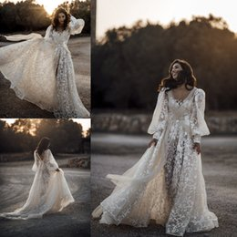 layered tulle wedding dress beach Coupons - Country Style 2020 Wedding Dresses A Line Boho V Neck Wedding Gowns Lace Tulle Formal Dress Layered Bohemian Bridal Dress