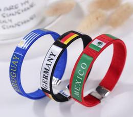 matériaux de porte-clés en gros Promotion 11 conception Russie Drapeaux De La Coupe Du Monde Silicone Bracelet Bague À Main Bande De Poignet Coupe Du Monde Drapeaux pays drapeau Bracelet Football Drapeau