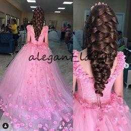 Corsé princesa rosa online-Pink Princess Caftan Kaftan noche vestidos formales 201 Scoop 3D Floral hecho a mano Flor corsé con cordones Ocasión especial Vestido de fiesta