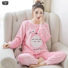 Setleri İçin Kadınlar Kış Moda Gecelik Boş Ev Bezi Kadın Uzun Kollu Pijama Pijama Kız Sıcak Seti nereden toptan uzun uyku gömlekleri tedarikçiler