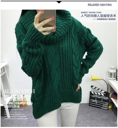 big thick sweaters Promo Codes - Women's Autumn and winter High collar Sweater coarse lines female 2015 new Loose big yards thick Sweater coat female