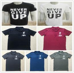 2019 chemises en jersey de coton Ligue des Champions M.SALAH NE JAMAIS ABANDONNER T-shirt en jersey de football noir et blanc T-shirt en coton décontracté Football T-shirts S-XXL promotion chemises en jersey de coton