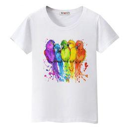 Pop art colorido on-line-Camiseta Colorido Pássaros Arco-íris Tshirt Mulheres Belas Arte Roupas de Trabalho Pop Venda Confortável Camiseta Femme Moda