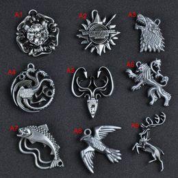 Argentina Juego de Tronos Casa Casa Stark Lannister Targaryen Baratheon Lobo Dragón Llavero Llaveros joyería de moda Embalaje al por menor 170879 Suministro
