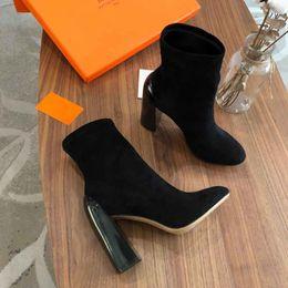 Botas de tacones mujer desnuda online-2019 Nuevas botas de diseñador, botas desnudas de invierno para mujer, botas elásticas de lujo, botines de cuero superiores, tamaño: 35-40,10cm tacones altos