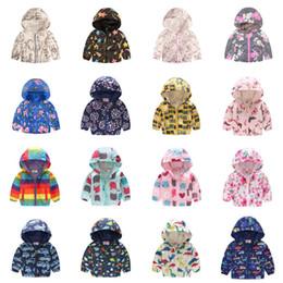 2019 estilo do exército da forma dos miúdos INS Primavera Crianças casaco Zipper Jacket Brasão Rapazes Meninas dos desenhos animados com capuz Quick Dry floral da mola estudantes Imprimir camuflagem bebê Casacos D21803