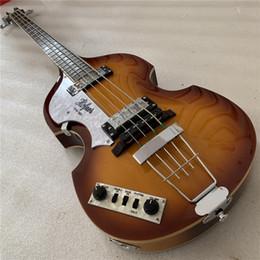 2020 baixos baixos oco Frete Grátis 5 Cordas Hofner H500 / 1-CT Violino Baixo Do Vintage Sunburst Archtop Semi Corpo Oco Spurce Top Elétrica Bass Guitar Flame Maple S baixos baixos oco barato