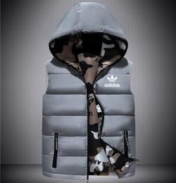 Gli stili casual della maglia degli uomini online-giubbotto stile di abbigliamento di moda dei vestiti della maglia uomo autunno e l'inverno con cappuccio senza maniche con zip tasca degli uomini maglia casuale