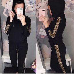 Chaquetas de las señoras online-de la mujer pantalones piezas de dos equipos de otoño Impreso con capucha Chaqueta y pantalón Conjunto señoras de la moda XLFendi
