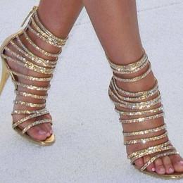 diamante sapatos sandália nova chegada Desconto 2019 nova chegada verão primavera festa sexy diamante artificial de cristal de salto fino mulheres sandálias zipper coberto moda y190704