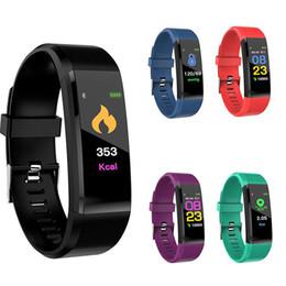 contador de calorías Rebajas 115 plus Fitness Tracker Pulsera inteligente BT Pantalla a color Reloj deportivo Monitor de ritmo cardíaco / presión arterial Podómetro Paso Contador de calorías