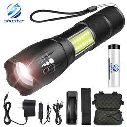 Carregador lateral on-line-Projeto da lâmpada COB LED lado lanterna T6 / L2 8000 lumens Zoomable 4 modos de luz para 18650 bateria + carregador + presente