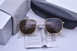 2019 lunettes de soleil lentilles réfléchissantes New Hexagonal Sunglasses Hommes Femmes Vintage UV400 réfléchissant Lens Metal Sunglass 3548 Marque Steampunk lunettes de soleil moins cher avec boîte et étui lunettes de soleil lentilles réfléchissantes pas cher