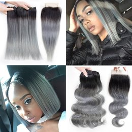 extensiones de cabello gris oscuro Rebajas Kisshair Ombre paquetes de cabello humano recto gris con cierre 1B color gris extensión de cabello brasileño onda del cuerpo Ombre pelo gris oscuro