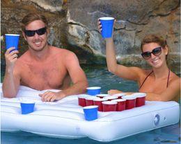 2019 aqua matten Aufblasbarer Biertisch Tischtennis-Spieltisch mit schwimmender Drainage und 28 Tassen Loch Die gute Wahl mit sommerlichem Wasserspiel