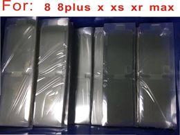 Protector de pantalla de teléfono de plástico online-100 unids / lote Plastic Seal Factory Protector de pantalla de película para el nuevo teléfono móvil para iPhone 7 7p'lu 8plus X XS MAX XR