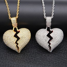 collar de plata de corazón roto Rebajas Mens Hip Hop Gold Silver Collar Moda Iced Out Broken Heart Colgante Collar Hiphop Aleación Heartbreak Collar Joyería