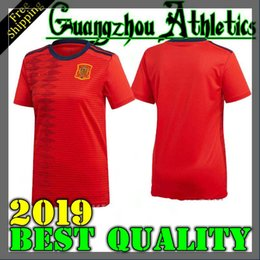 red spain uniform Promo Codes - 2019 world cup Spain women home red Soccer Jersey 2019 women Spain soccer shirt 2019 A.INIEST ISCO ASENSIO girl Football uniforms