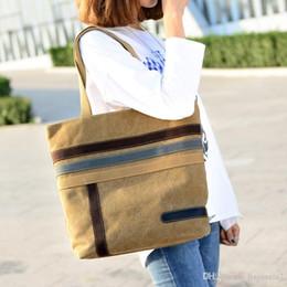 2019 kunststoffträger Neue koreanische Version der Gezeitenbeutel Segeltuchtasche weibliche einfache Kontrast Nähte koreanische Handtasche Schulter Einkaufstasche